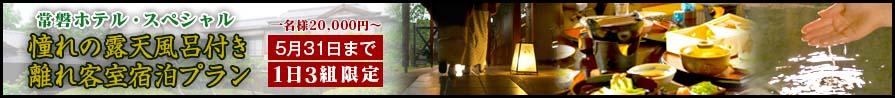 令和2年新春スペシャル 憧れの露天風呂付き離れ客室宿泊プラン 2020年5月31日まで 1日3組限定 1名様20,000円~